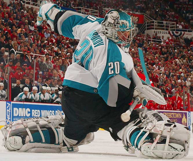Evgeni Nabokov made 34 saves for the Sharks in his first shutout this postseason and the fifth of his playoff career to take the first game in Detroit.