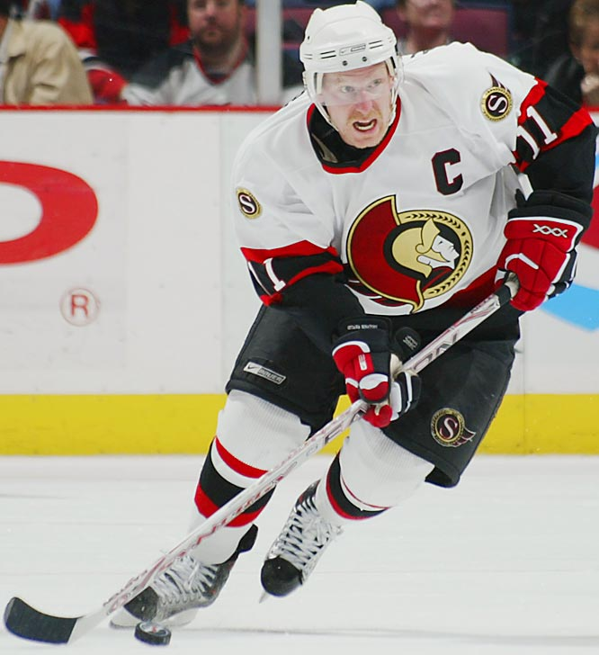 Playoff stats: GP 15: G 10, A 7, PTS 17<br><br>The first European captain to appear in the Stanley Cup Final, Alfredsson made his NHL debut with the Senators in 1995-96 and is the only player to have appeared in all 94 playoff games in the franchise's history.  He leads the playoffs in goals (10) and game winners (4), including his double-overtime strike in Game 5 against the Buffalo Sabres that won the Eastern Conference title.  He remains a strong candidate to win the Conn Smythe Trophy as playoff MVP should Ottawa win the Cup.