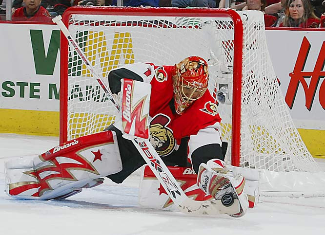 Playoff stats: 12-3, 1.95 GAA, .919 SV%<br><br>The 99th overall pick of the 2001 draft, Emery has emerged as a steady backstopper for the Senators, posting the NHL's best record this postseason (12-3) and a shutout in each round of the playoffs.  He will be the first black starting goalie in the Stanley Cup Final since Grant Fuhr of the Edmonton Oilers in 1988. Backup Martin Gerber may be a good luck charm for Emery, as Gerber has sat behind two Conn Smythe-winners in the past three seasons, including Ducks netminder Jean-Sebastien Giguere in 2003.