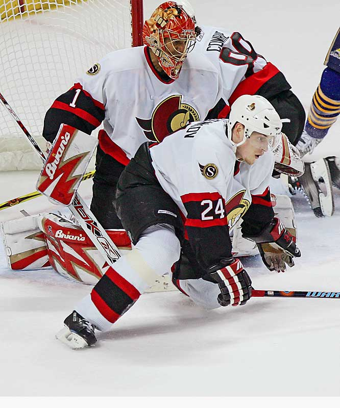 Playoff stats: 15 GP: 1 G, 3 A, 4 PTS<br><br>Ottawa's first round choice (21st overall) in 2000, Volchnkov led all NHL players in blocked shots (273) during the regular season and ranks first in the postseason with 61.  Both of his two career playoff goals have been game-winners, including one in Pittsburgh during the first round that gave the Senators a 3-1 series lead over the Penguins.