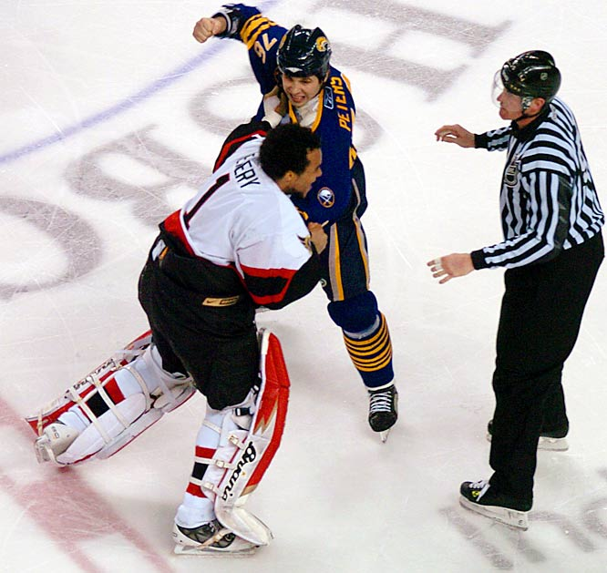 After Ottawa's Chris Neil blindsided Chris Drury, the Sabres retaliated by sending out their goons to spark a second-period melee that involved all 12 skaters on the ice, including Sens goalie Ray Emery, who fought not only opposing netminder Martin Biron but enforcer Andrew Peters. The game was delayed for about 20 minutes as officials issued 100 penalty minutes, 63 of them against the Sabres.