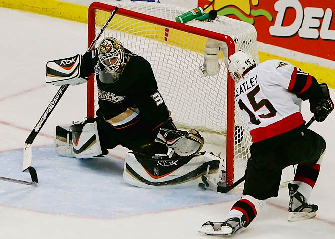 Jean-Sebastien Giguere stopped 16 shots from Dany Heatley and the Senators for his sixth postseason shutout.