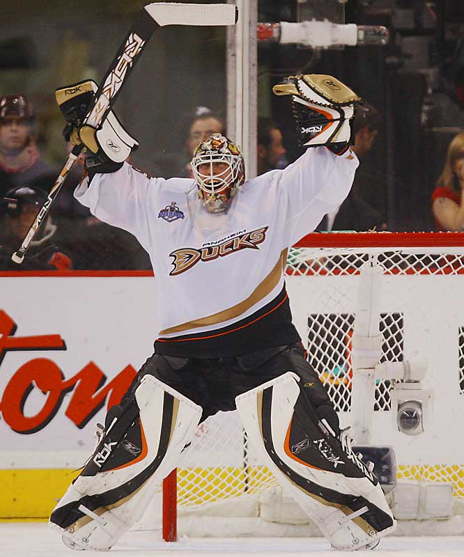 Jean-Sebastien Giguere's 21 saves were enough to give Anaheim its record-tying 12th one-goal win of the postseason (12-2) and put the Ducks just one win away from their first NHL championship.