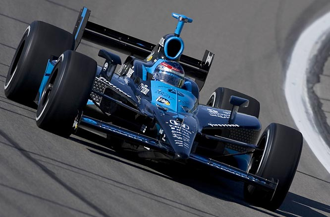 Patrick drives the No. 7 Andretti Green Racing Dallara Honda during practice prior to the IRL race in Kansas City.