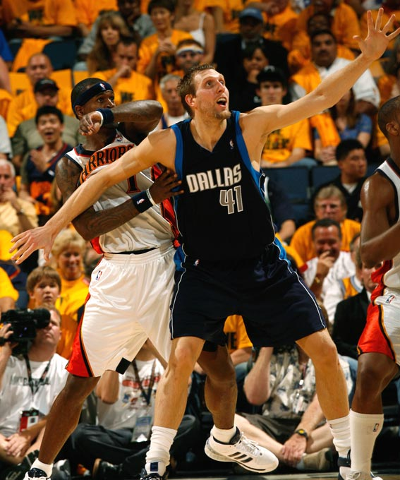 Dirk Nowitzki was unable to exploit his size advantage against the Warriors, who relied on their quickness and an assortment of double teams to stifle the Mavs' star 7-footer. Nowitzki capped his disappointing series with a 2-for-13 shooting effort in Game 6.
