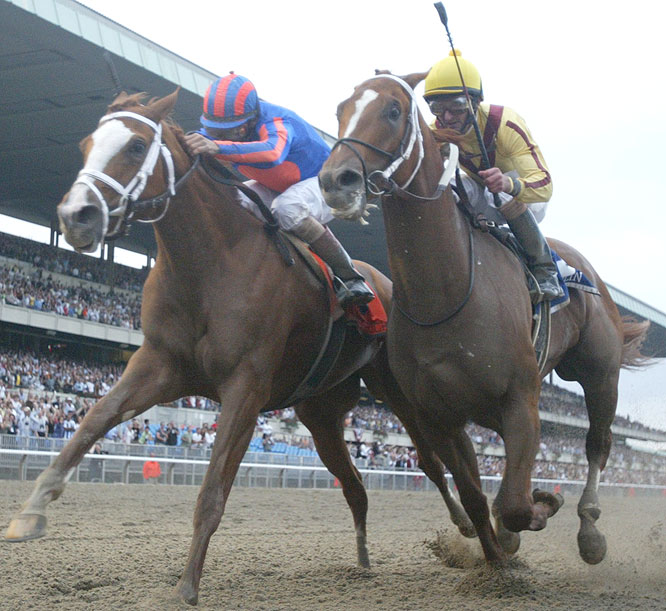 They made it into a two-horse race a quarter-mile to the finish of the 1 1/2-mile Belmont, staying neck and neck down the stretch.