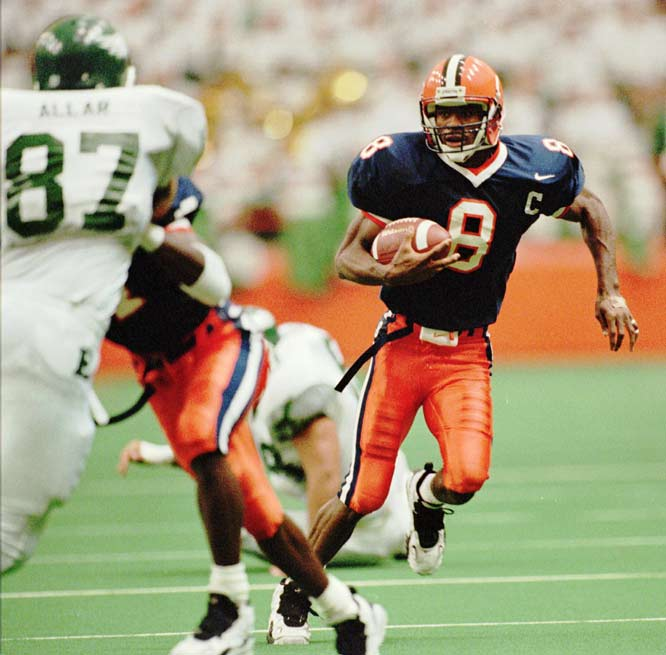 The 1995 All-American holds the school record for most receiving yards in a season (1,131) and career (2,278). He was also a special teams stand-out and was voted Big East Special Team Player of the Year in 1995.