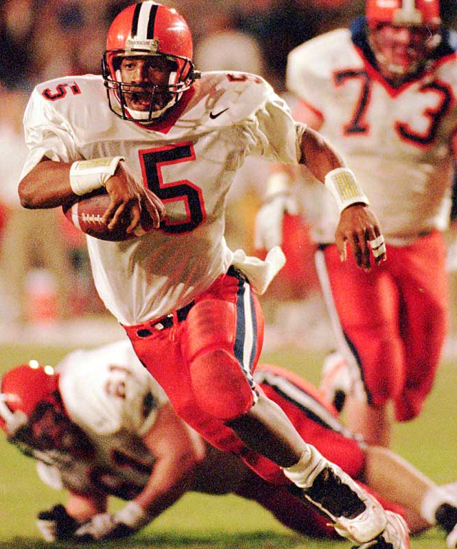 In amassing huge offensive statistics -- 8,389 passing yards and 1,561 rushing yards -- McNabb earned himself numerous honors, including Big East Rookie of the Year in 1995 and Big East Offensive Player of the Year in 1996, 97 and 98. He also led the Orange to three straight Big East championships from 1996 to  1998.