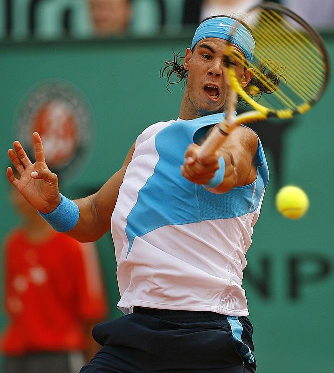Nadal beat Lleyton Hewitt in three sets, 6-3, 6-1, 7-6 (5).