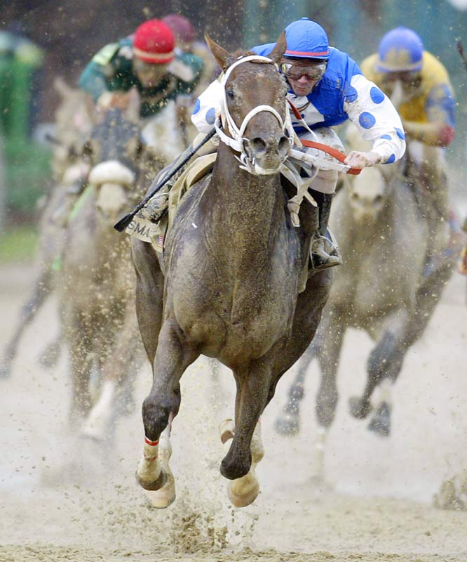 "SIMON SAYS:   ""Before the 2004 Kentucky Derby, there was a huge rainstorm--an absolute monsoon. It got to the point where it was just about survival and making sure the camera gear made it to the race. When you're on the final turn you don't know which of the 15-plus horses is going to win. So to pick out Smarty Jones--and then to have Smarty's jockey, Stewart Elliott, poke his head out from behind the horse--made surviving the rainstorm worth it.""  Shot with a Canon EOS-1D Mark II, EF 600mm f/4L IS USM"