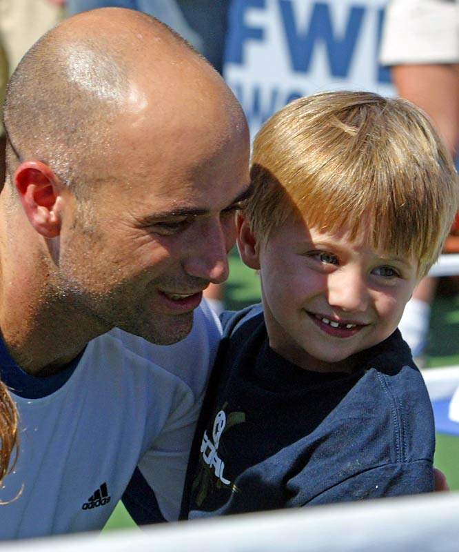 Jaden Agassi, now 5, is the first of Andre's two children.