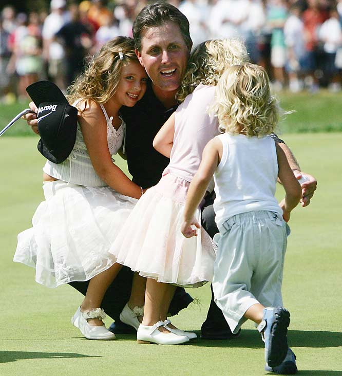 On Father's Day in 1999, Mickelson carried a beeper during the final round of the U.S. Open, saying he would walk off the course to be with his wife for the birth of their first child, even though he was locked in a battle with the late Payne Stewart for the title.