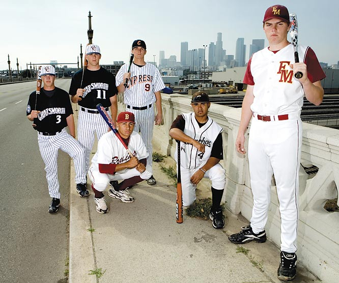 Greater L.A. was a hotbed of baseball talent this spring as 11 players were included in the RISE Top 50. The best of the bunch included (from left): Matt Dominguez, Mike Moustakas, Ryan Dent (crouching), Josh Vitters, Christian Colon (crouching) and Freddie Freeman. Moustakas (2nd), Vitters (3rd) and Dominguez (12th) were all selected in the first round of this year's MLB Draft.