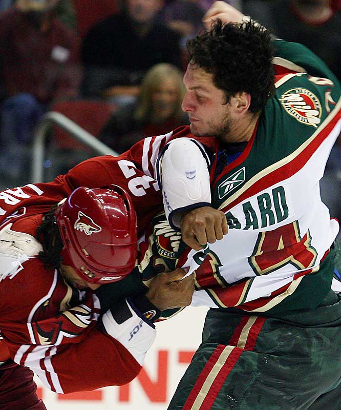 Boogaard is emblematic of a lot of one-trick ponies among the fighters in the NHL. He plays ridiculously short minutes for the Minnesota Wild because the only aspect of the game at which he excels is fighting. Not that we advocate the abolition of fighting, but our preference is for players who blend it with genuine hockey skills, such as Calgary's Jarome Iginla, Toronto's Darcy Tucker and Anaheim's François Beauchemin.