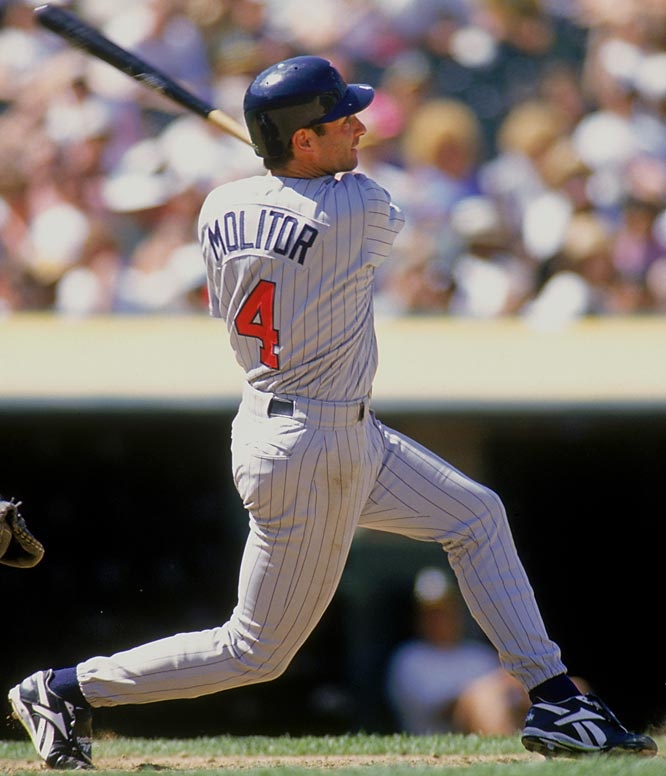 Paul Molitor became the 21st member of the 3,000-hit club on Sept. 16, 1996 with a triple off Kansas City's Jose Rosado at Kauffman Stadium. He is only member of the club to reach the milestone with a three-bagger.