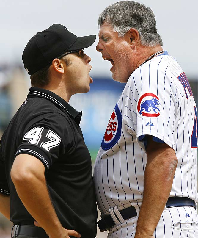 Cubs manager Lou Piniella argues with third base umpire Mark Wegner before being ejected in the eighth inning of a game against the Atlanta Braves at Wrigley Field on Saturday. Chicago lost 5-3.