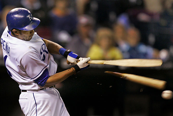 The Royals' Tony Peña breaks his bat as he grounds into a fielder's choice in the fifth inning against the Orioles on May 30 in Kansas City. Baltimore won 3-0.