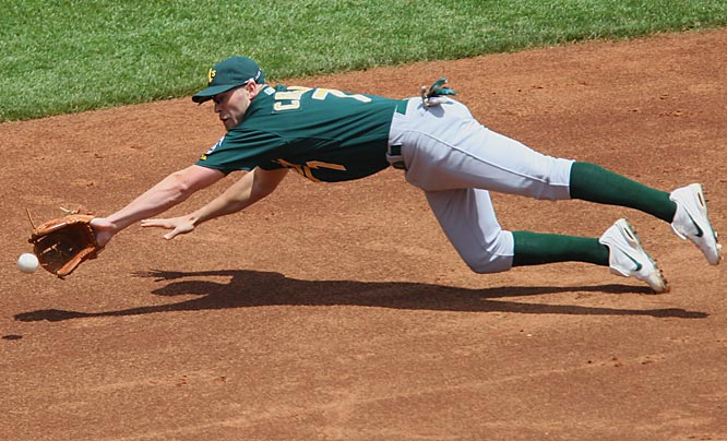 A's shortstop Bobby Crosby dives for a ground ball during Sunday's game against the Giants.  The Athletics won 2-0, sweeping the three-game Battle of the Bay series.