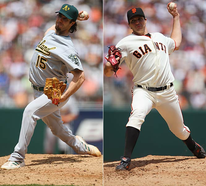 A's starter Dan Haren pitched seven scoreless innings against the Giants while Oakland's former ace, Barry Zito, allowed three runs on nine hits in just four innings at AT&T Park on Saturday. The Athletics won 6-0.