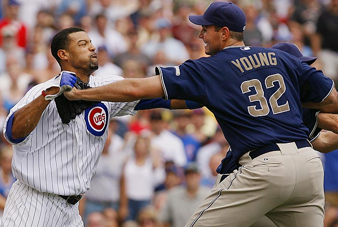 The Cubs' Derrek Lee and Padres pitcher Chris Young exchanged words and then punches after Lee was hit by a pitch he believed was aimed at his head in the fourth inning Saturday at Wrigley Field. A melee ensued as Lee, Young, Cubs hitting coach Gerald Perry and Padres pitcher Jake Peavy were all ejected. San Diego won the game 1-0.