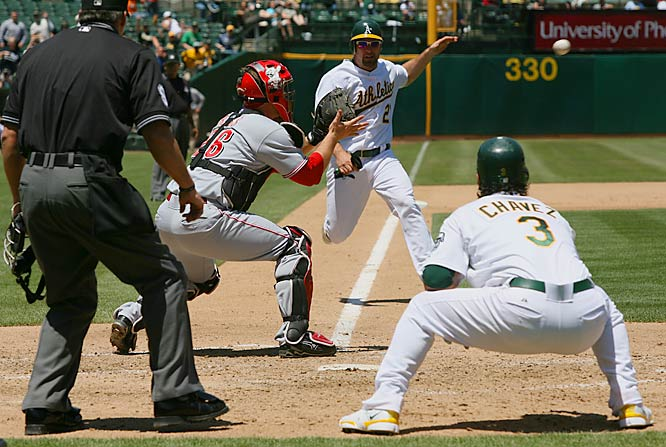 Mark Kotsay fails to beat the throw to Reds catcher David Ross following a fifth-inning single by Nick Swisher at McAfee Coliseum on June 20. Oakland won 5-3.