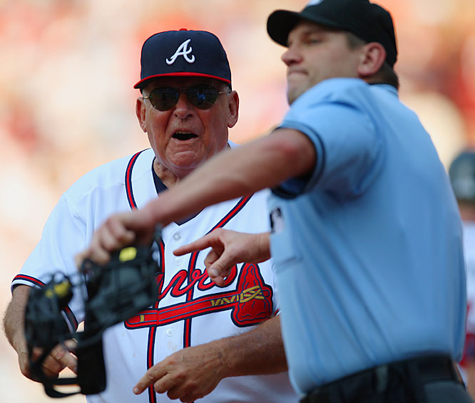 Braves manager Bobby Cox was ejected in the ninth inning Saturday by Chad Fairchild. Cox's ejection in the 2-1 loss to Detroit gave him 131 for his career, tying the record set by John McGraw. Cox already has the record for most ejections by a manager, since 14 of McGraw's came as a player.