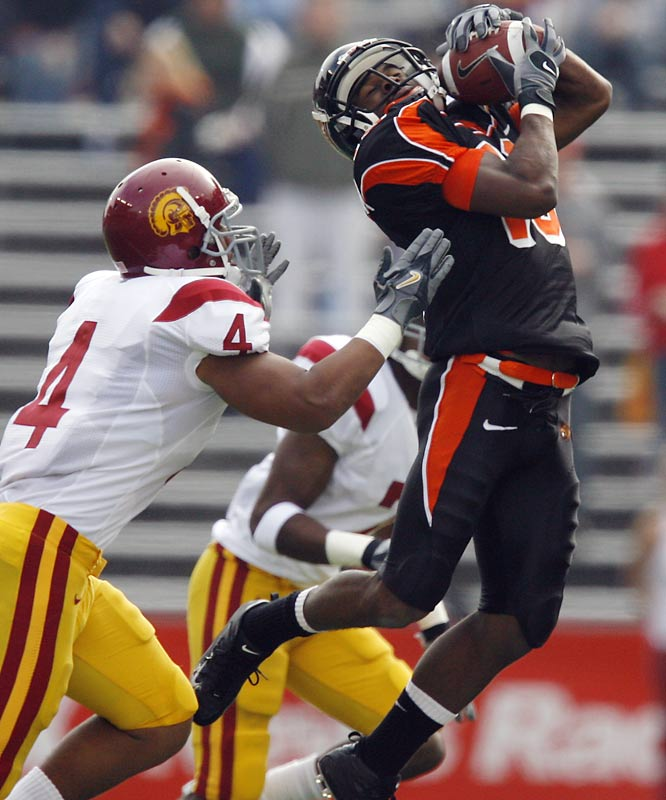 The speedy wide receiver is one of the best deep threats in college football, but that might not be the best part of his game. Stroughter is a dangerous punt returner, which USC learned the hard way when he cut through the Trojans' special teams in Oregon State's 33-31 upset win last season.