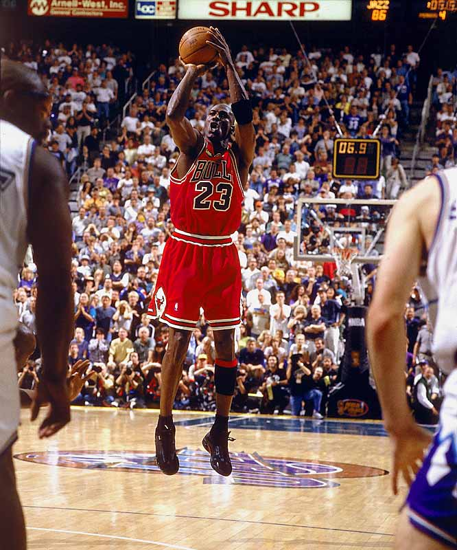 Jordan scored 45 points and capped his Chicago career with a last-second jumper over Utah's Bryon Russell that clinched the Bulls' sixth title in eight seasons.