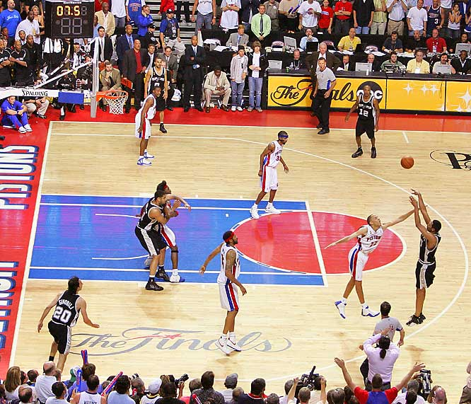 Horry came off the bench to score all 21 of his points after halftime against the Pistons, including the game-winning three-pointer with 5.8 seconds left in overtime. The shot gave the Spurs a 3-2 series lead, and they won the title in seven.