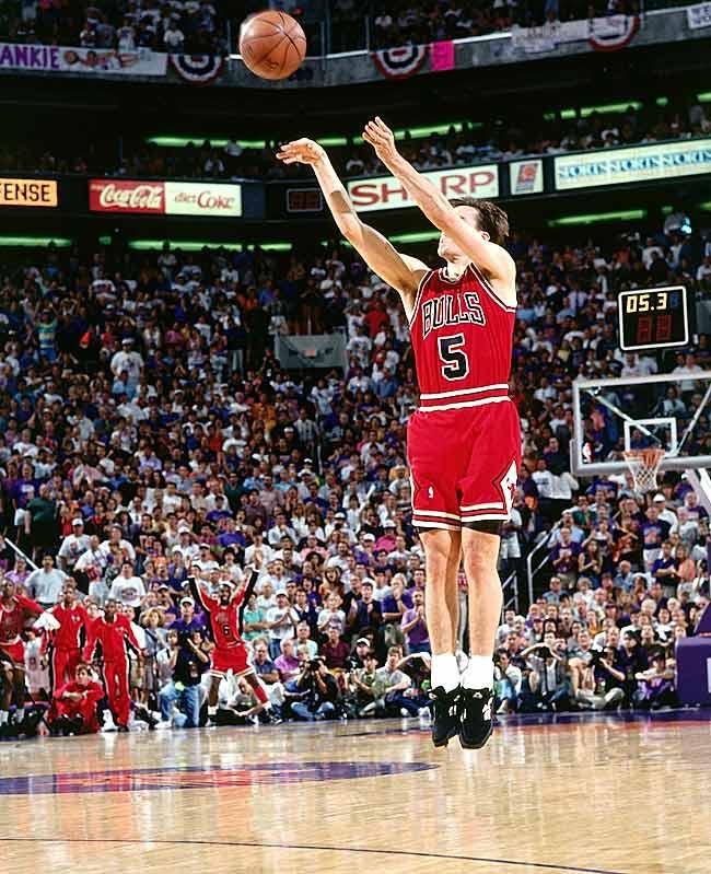 Paxson's game-winning three-pointer in Phoenix gave the Bulls their third consecutive championship.