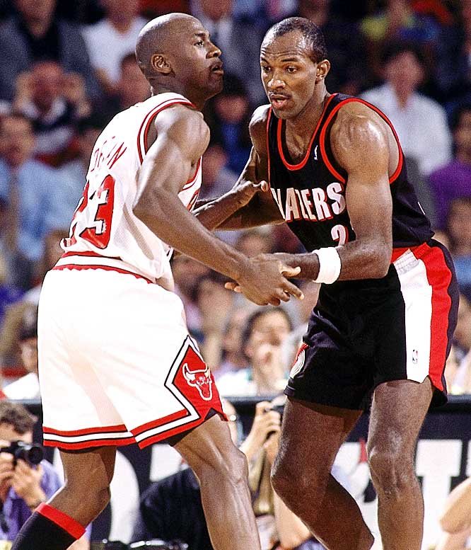 Jordan hit six three-pointers and scored 35 points in the opening half against Clyde Drexler and the Trail Blazers. Chicago coasted to a 122-89 victory.