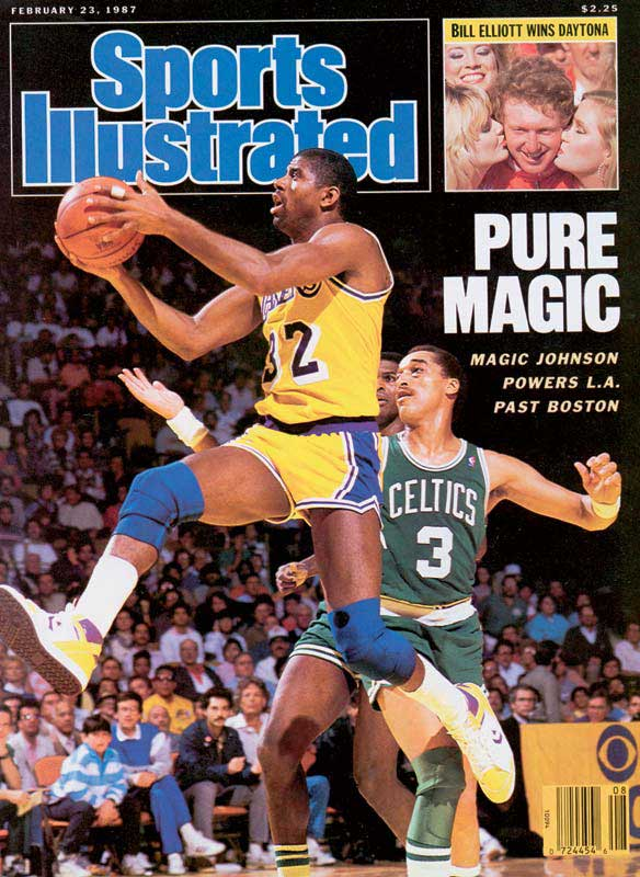 """In one of the most memorable moments in Finals history, Magic won Game 4 with what he called his """"junior, junior, junior sky hook."""" That victory in Boston gave the Lakers a 3-1 lead; they wrapped it up two games later in Los Angeles, where 39-year-old Kareem Abdul-Jabbar scored 32 points and Magic closed with 16 points, 19 assists and eight rebounds. Johnson became the fourth player to win the regular-season and Finals MVP awards."""