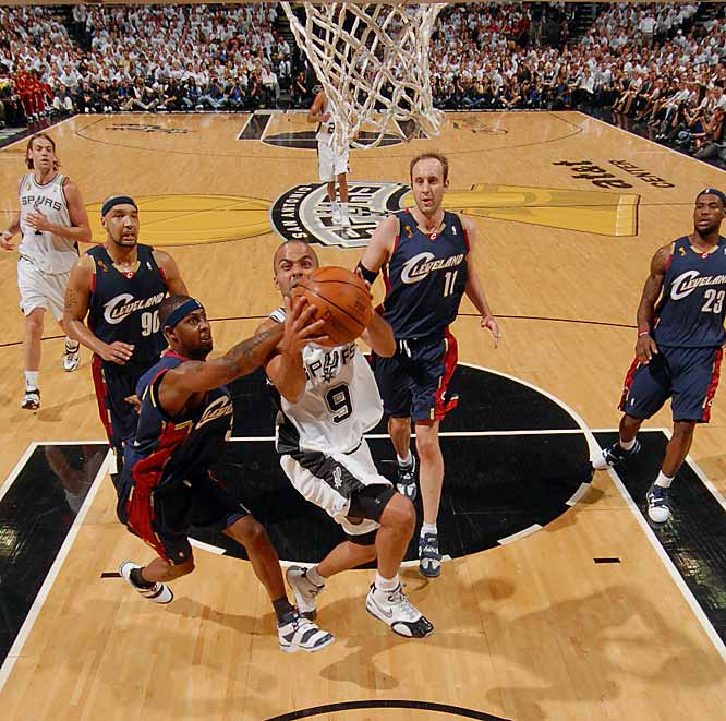 Parker slashed and sliced past Larry Hughes and the Cavs for easy layups.