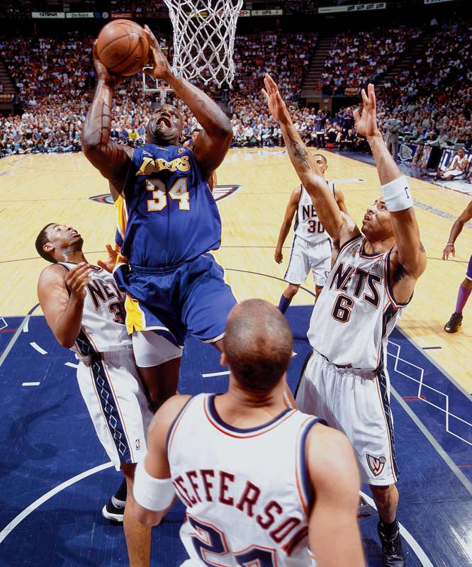 Shaquille O'Neal's record 145 points in a four-game series resulted in the third straight championship for L.A. and the third straight Finals MVP for Shaq.