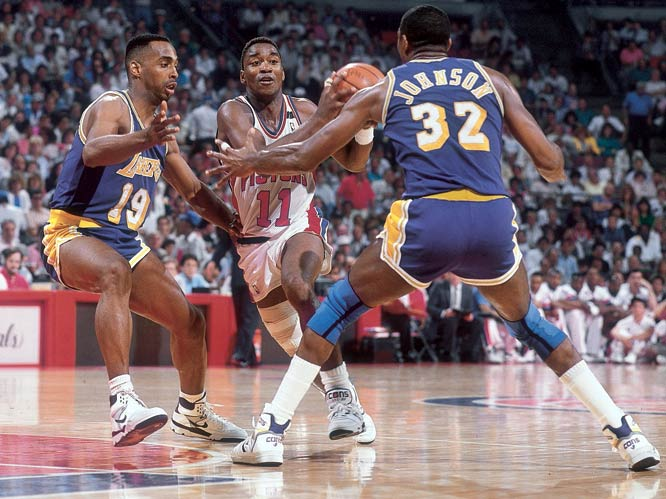 "Series MVP Joe Dumars and fellow guard Isiah Thomas successfully broke down the Lakers' defense. The task got even easier for the ""Bay Boys"" when Magic Johnson went down with an injured thigh."