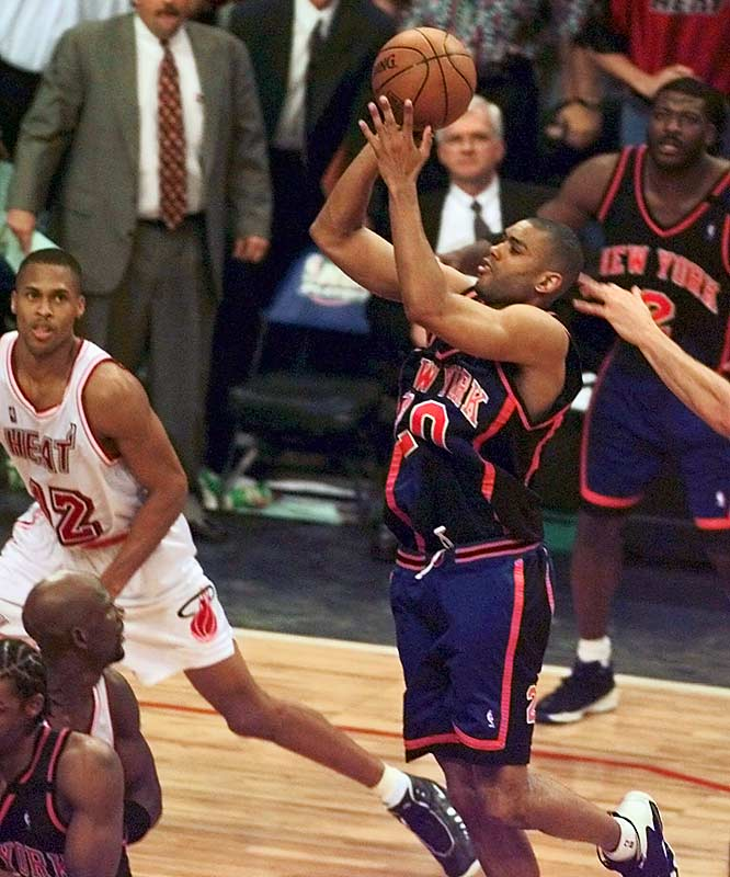Allan Houston nailed a running 14-footer with 0.8 seconds left to vault the Knicks to a 78-77 win. It marked the second time in modern playoff history that a No. 8 seed toppled a No. 1 in the playoffs. New York would subsequently defeat Atlanta and Indiana before losing to San Antonio in the Finals.
