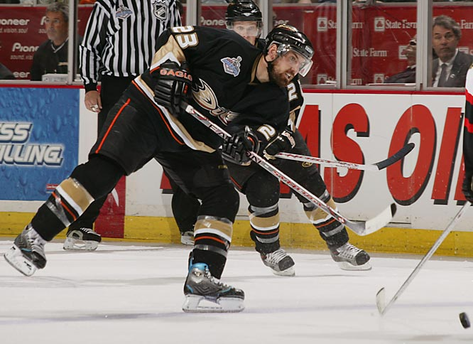 Acquired from Minnesota in a trade for Sergei Fedorov in November 2005, the 27-year old with the booming slapper gave the Ducks a third excellent defenseman.