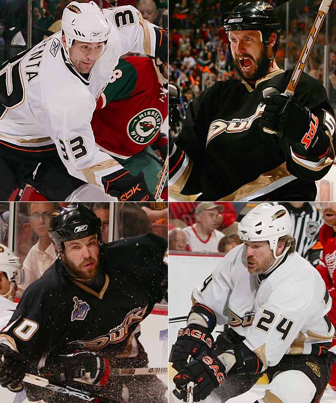 Huskins (40) and DiPenta (33), 28, were unsung contributors to a rock-ribbed defense. Jackman (5) was an unlikely hero of Game 4 of the Western Conference Finals when he scored the first goal of his seven-year career to help the Ducks beat the Red Wings without the suspended Chris Pronger. May (24), a 15-year veteran acquired from Colorado during the season, supplied added muscle on a team that racked up a league-leading 71 fighting majors.