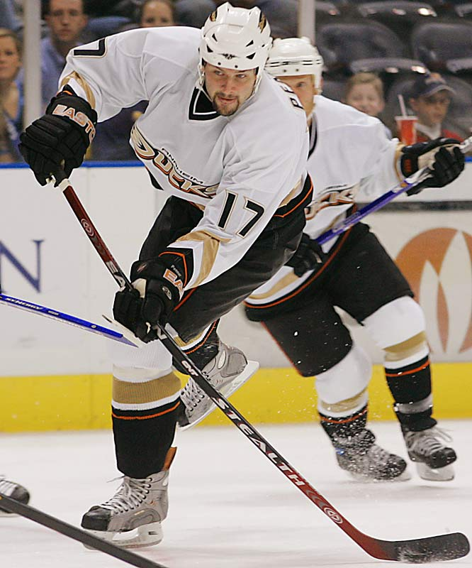 "Yet another undrafted gem who signed on as a free agent in 2004, the hulking (6' 4"", 245) 24-year old scored was a 29-goal-scorer during the regular season. Relatively quiet in the playoffs (8 points), two of his three goals were game-winners, including his tally off a pretty feed from Teemu Selanne in Game 4 of the Cup final."