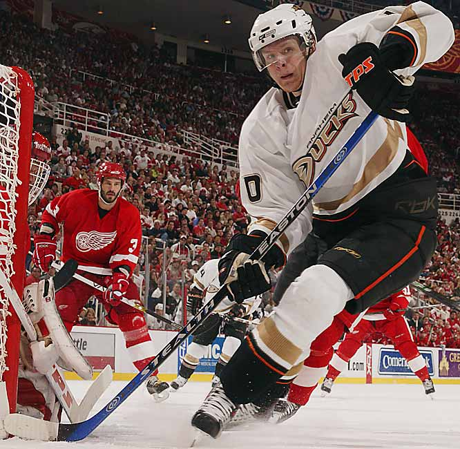 A first-round pick in 2003, the 22-year old winger is another member of the Ducks' Kiddie Korps that should ensure the team's contention for years to come. Perry scored 44 points during the regular season and added 15 more in 21 playoff games.