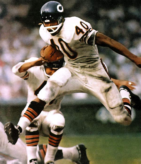 Has anyone looked more graceful on a football field? Sayers' career was cut short by injuries but he still managed to finish with 9,435 combined net yards. <br><br>Runner-up: Crazy Legs Hirsch.<br><br>Worthy of consideration: Bill Laimbeer, Mike Haynes.