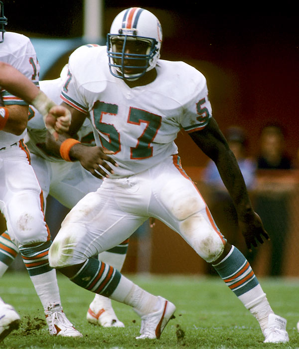 He's why Dan Marino still looks good on television. The Dolphins center was elected to five consecutive Pro Bowls during the 1980s and started in 80 consecutive games until the 1987 season. <br><br>Runner-up: Clay Matthews.<br><br>Worthy of consideration: Johan Santana, Johnny Vander Meer.