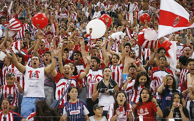 Chivas fans celebrate their team's first goal against intracity rival Atlas during the Goats' 2-0 win on April 14 at the Estadio Jalisco in Guadalajara.