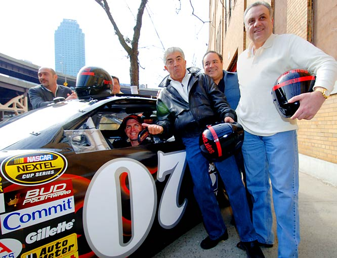 """NASCAR driver Clint Bowyer sits in the driver's seat of the """"Sopranos"""" car prior to last year's UAW-Daimer Chrysler 400 in Las Vegas. Bowyer finished in 15th but was not whacked after the race."""
