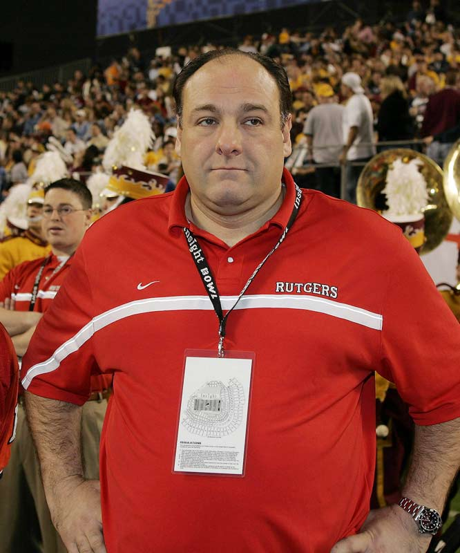 James Gandolfini (Rutgers, Class of '83, communications) is the school's most famous alum. He often appears at games, including the 2005 Insight Bowl in Arizona, where he served as a honorary captain.