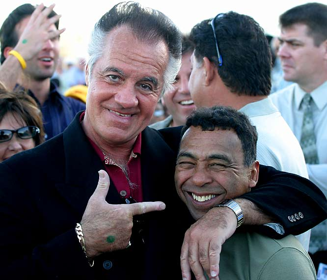 Tony Sirico (Paulie Walnuts) pals around with Hall of Fame jockey Angel Cordero Jr. in 2005 at Gulfstream Park.