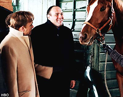 In the fourth season, Tony Soprano and Ralph Cifaretto (Joe Pantoliano) purchased the filly, Pie-O-My, who went on to win a couple of races and become a favorite of the mob boss. Tony later killed Ralphie Cifaretto because he suspected Ralphie burned down Pie-O-My's stable for the insurance money.