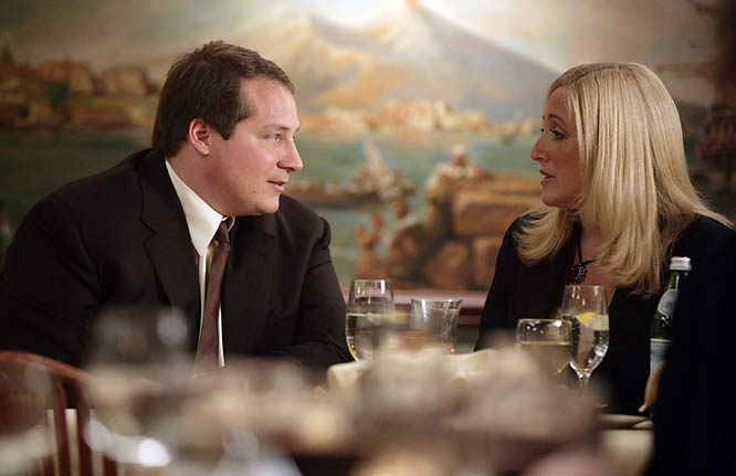 "Jets coach Eric Mangini and his wife, Julie,  appeared in the penultimate episode as guests at Artie Bucco's restaurant. ""Know who's in tonight?""  Bucco tells Tony Soprano. ""'Mangenius'."" Soprano then turned to his puzzled wife and said: ""It's the Jets coach, sweetie. I should go say hello."" Said Mangini of his performance: ""It took me a long time to get into character. ""Playing me eating dinner is a real stretch, but I worked with an acting coach and I think I really nailed it."""