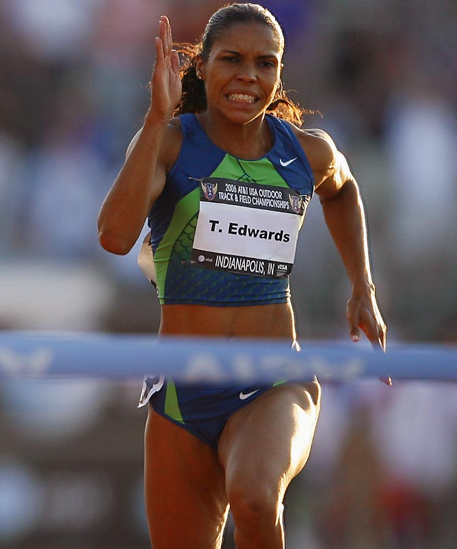 Since her two-year ban for using nikethamide was cut short in November 2005 after the substance was downgraded, Edwards has once again become a major threat in short-distance sprints.