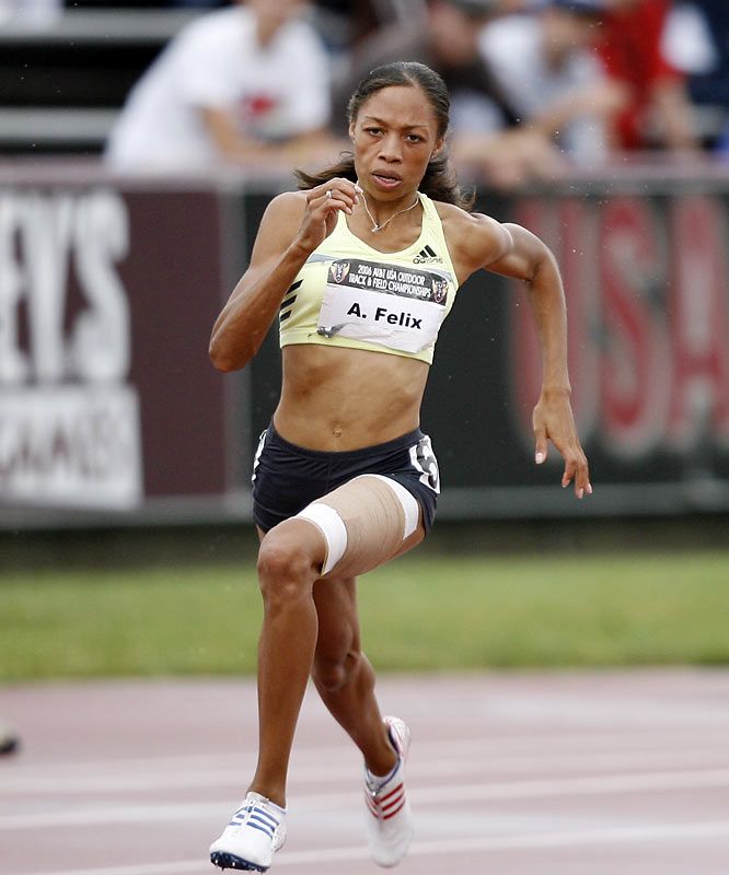 """Felix, whose nickname is """"Chicken Legs,"""" won the 200 at the 2005 Outdoors with a time of 22.16, just slightly off her personal best of 22.11."""